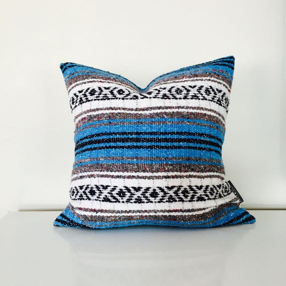 Boho Blue Cushion Pillow Ethnic Bohemian Blue Grey White Black Striped Upcycled Mexican Blanket Yoga Blanket Pillow