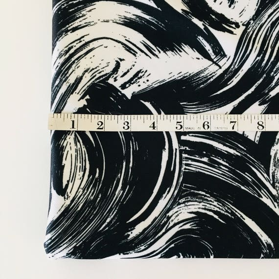 Vintage Black and White Fabric Mid Century Modern Painterly Pattern Abstract Polyester Fabric Yardage