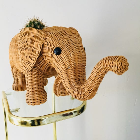 Vintage WIcker Elephant Basket Large Woven Rattan Elephant Planter