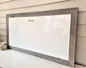 Dry Erase Whiteboard Barnwood Frame MAGNETIC Bulletin Board Reclaimed Recycled Weathered Gray Rustic Ranch 20 x 39 Handmade Frame Barn Wood