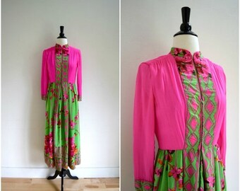 Summer Sale Vintage bohemian pink and green long sleeved silk dress with floral print / sheer chiffon sleeves romantic dress