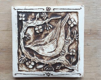 Handmade ceramic Nuthatch tile for wall hanging or installation 4x4 inch