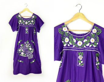 Vintage Purple Mexican Embroidered Dress Size Small // Medium // Large