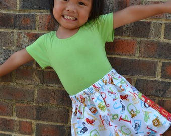 White  ABC 123 school  Skirt with 2 pockets     ( 2T, 3T, 4T, 5, 6, 7, 8, 10)