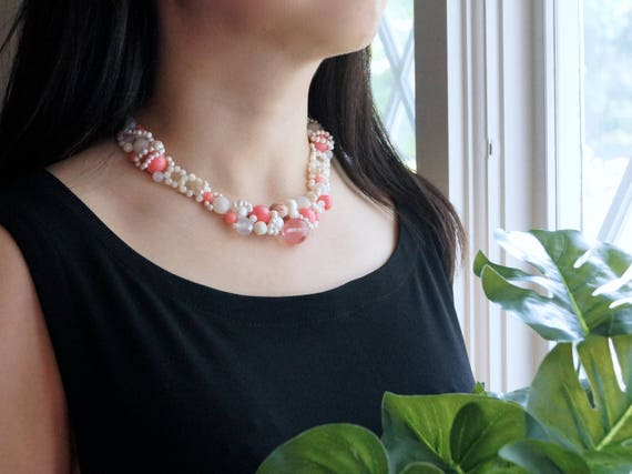 Pink coral choker necklace