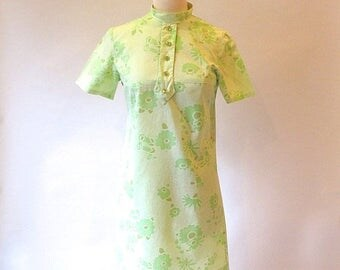 1/2 Off SALE Vintage Green Dress, Cotton 60s Shift, Mod Metal Zipper Dress, Green Summer Dress