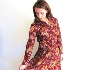 1/2 Off SALE Vintage Long Hippie Dress, 1960 Maxi Dress, 60's Paisley Dress, Brown Poly Dress