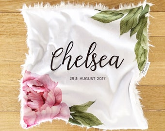 Personalised name and birth date 'Lovey blankie' - Pink peony rose - New baby blanket - New baby gift - Fur blanket - Security blanket