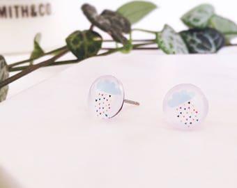 Rainbow raindrop rain cloud earrings - small Glass stud post earrings - Hypoallergenic post earrings