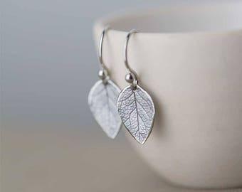 Sterling Silver Leaf Earrings | Silver Dangle Earrings for Women | Bridesmaid Gifts Ideas | Handmade Jewelry by Burnish