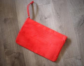 1980s Large Red Wristlet Purse Clutch Pleats Summer Bag Womens Vintage Pocketbook