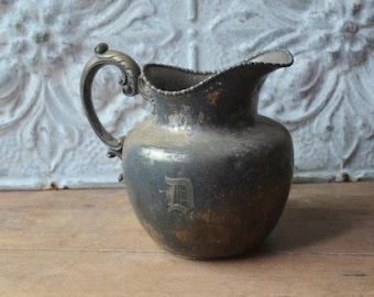 Vintage Silver Plate Pitcher, Silver Rustic Flower Vase