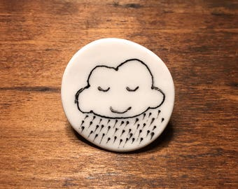 Doodle porcelain happy smiling cloud pin brooch