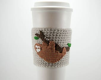 Coffee cozy, cup sleeve, golden sloth, i love sloths, gift for her, gift for him, three-toed sloth, coffee sleeve