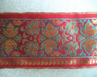 "Spool of India trim/ vintage India woven metalic trim/ saree trim/ red gold turquoise/ 8 1/2 yards x 3"" wide"