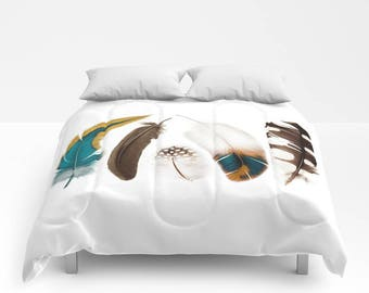 Feather Print Duvet Cover or Comforter, Bedspread Twin Full, Mustard Teal Blue Black White Rust Brown Grey, Bright vivid colors, Free spirit