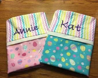 Monogrammed Easter Pillow cases - colorful bunnies- can be customized