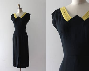 vintage 1950s dress // 50s black wiggle dress with pop of yellow