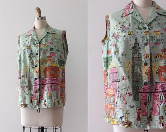 vintage 1950s blouse // 50s novelty Millworth Hacienda border print top