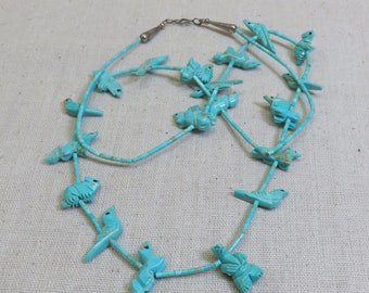 Turquoise Fetish Necklace, Vintage, Native American, Sterling Silver