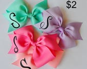 Monogrammed hair bow, personalized hair bows, hair bows with initial, girls custom hair bows, bows with first name initial, You choose color