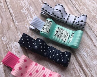 Baby hair clips, baby hair bows, no slip baby clips, toddler hair clips, owl, aqua, pink, navy, white, stars