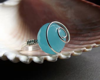 Aqua Blue Jade Ring:  Sterling Silver Wire Wrapped Ring, Huge Gemstone Ring, Pastel Jewely, Large Stone Ring
