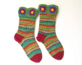 Knit Socks, handknit socks, rainbow socks, flower socks, knit and crochet socks, medium socks (Women Size US 6.5-8.5, UK 4-6, Europe 37-39)