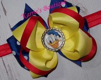 Donald Duck Hair Bow or Headband / Blue + Yellow / Disney Princess / Pageant / Photo Prop / Infant / Baby / Girl / Toddler / Boutique