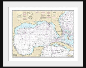 Gulf of Mexico Map c1792 Hand Drawn Map 12 x