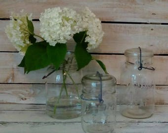 Glass Canning Jars, Set of Three Ball, Atlas Wire Bale Jars, Storage, Antique, Vintage, Farmhouse, Fixer Upper Style Home decor