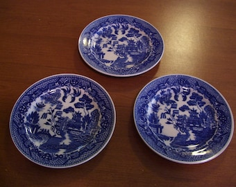 """Set of Three Blue Willow 6"""" Plates-Marked 'JAPAN'"""