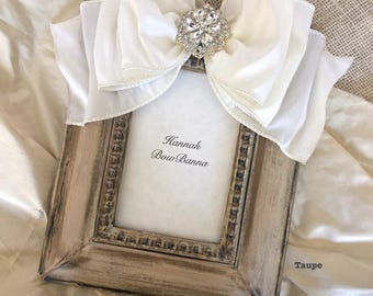 Picture Frame Bow Personalize Wedding Baby White Taupe Jewel Diamond Pearl Bridal Registry Wedding Shower Gift Idea Photo Portrait Plaque