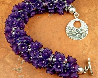 KUMIHIMO BRACELET Wrist Corsage Purple Bracelet Flower Bracelet Gift for Her Birthday Gift Anniversary Gift Nature Bracelet Handmade