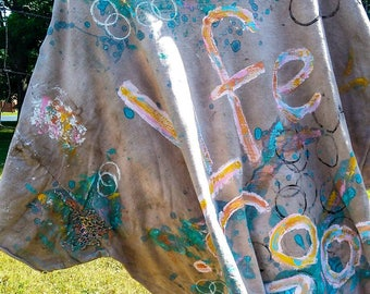 Life Is Good T Shirt Tunic Hand Painted 2X 3x 4x Orange Aqua Blue Yellow White Pink Bohemian Funky Have Fun Enjoy Life Rainbow
