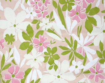 Retro Flock Wallpaper by the Yard 70s Vintage Flock Wallpaper - 1970s Pink and Green Flocked Floral