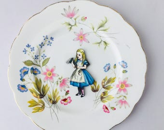 Drink Me Alice in Wonderland Bone China with Blue Pink Green Flowers on White Display 3D Plate Collage Sculpture for Wall Decor Birthday