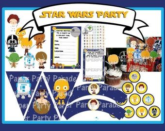 DIY Star Wars Party COMPLETE SET Decorations - Instant Download, digital file, printable, print at home, birthday party, baby shower