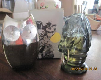 Vintage Avon Lot of 2 Mens Animal Cologne Decanters... Owl & Horse...1 in Box...some never used still full....