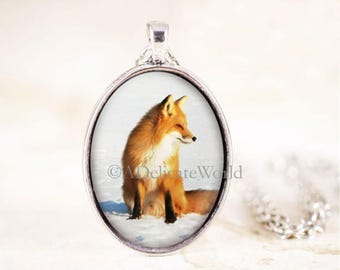 Red Fox Necklace, Sitting Fox Pendant, Silver Fox Jewelry, Fox Animal Necklace, Silver Fox Necklace, Animal Photography, Animal Jewelry