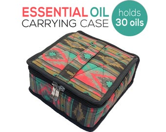 FREE SHIPPING! Large Essential Oil  Case / Bag - Protects 30  5ml & 15ml Essential Oils - Handle to Carry and Inside Pocket for Stickers