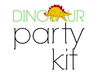 Dinosaur Birthday PARTY KIT, Dinosaur themed party decorations, Party in a Box