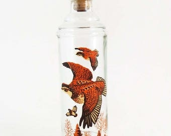 60's Cabin Still Collection GROUSE DECANTER with Wood Stopper / Man Cave Gift Decor  / Mid Century Barware /  Mad Men Style /