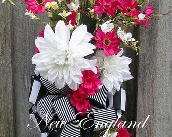 ON SALE Floral Swag, Summer Wreath, Country French Wreath, Designer Floral Swag, Wedding Floral, Elegant Floral Swag, Designer Wreath, Garde