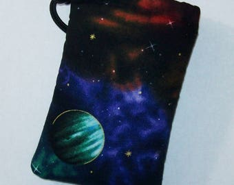 "Space Pipe Pouch, Planets Pouch, Pipe Case, Pipe Bag, Padded Pouch, Stoner Gift, Hippie Bag, Small Pouch, 420, Pothead Gift - 5"" DRAWSTRING"