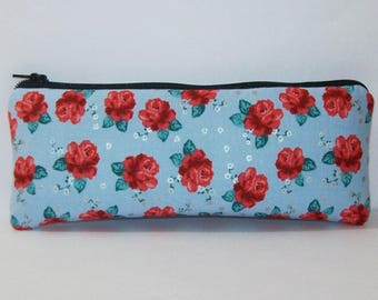 "Pipe Pouch, Red Roses Bag, Pipe Bag, Glass Pipe Case, Padded Pipe Pouch, Flowers Pouch, Smoke Accessory, Weed, 420, Hippie Bag - 7.5"" LARGE"