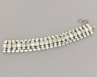 Clear Rhinestone Statement Bracelet - Vintage Rhinestone Bridal Bracelet - Mid Century Jewelry Bracelet Gift for Wife - Wedding Jewelry