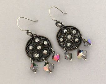 Everyday Dangle Earrings - Vintage Upcycled Button Earrings - Crystal Dangle Earrings - Silver Pierced Earrings - Cut Steel Button Earrings