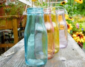 Set of 4 Glass Milk Bottles Hanging Vases Boho Bohemian Outdoor Patio Party Decor Wedding Decoration