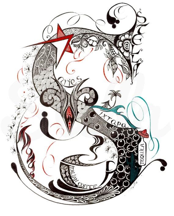 Custom Hand Drawn Original  Monogram Letter S - 11x14  wall decor, wall art by Stella Viner